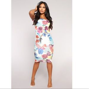 Floral Bodycon Stretch Dress White Off Shoulder S